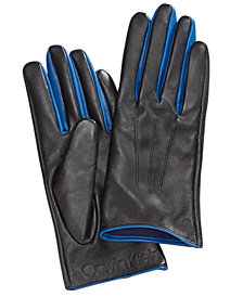 Calvin Klein Pop-Color Leather Gloves