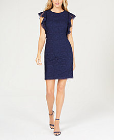 Vince Camuto Flutter-Sleeve Lace Sheath Dress