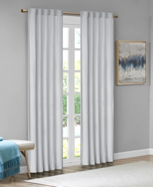 "Image of 37""x84"" Bryce Poly Velvet Window Panel Pair Light Gray"