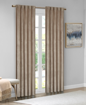 """Image of 37""""x63"""" Bryce Poly Velvet Window Panel Pair Taupe (Brown)"""