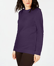 Karen Scott Long-Sleeve Cotton Sweater, Created for Macy's
