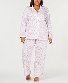 Charter Club Plus Size Cotton Printed Top & Pajama Pants Set, Created for Macy's