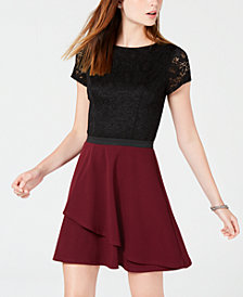 Speechless Juniors' Colorblocked Lace Fit & Flare Dress, Created for Macy's