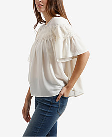 Lucky Brand Lace Yoke Pleated Top