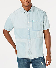 Tommy Hilfiger Denim Men's Kearney Patchwork Denim Pocket Shirt