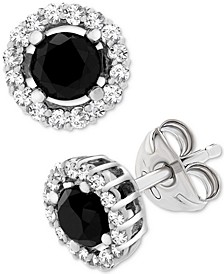 Black (1 ct. t.w.) and White Diamond Accent Stud Earrings in 14k White Gold, Created for Macy's
