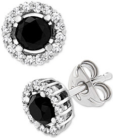 Wrapped in Love™ Black (1 ct. t.w.) and White Diamond Accent Stud Earrings in 14k White Gold, Created for Macy's