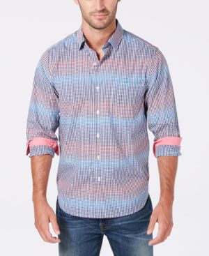 Men'S Striped Gingham Button Down Shirt, Navy