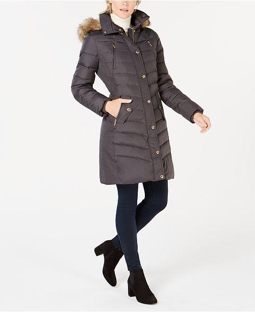 d26fb5edc Michael Kors Petite Faux Fur Hooded Down Coat & Reviews - Coats ...