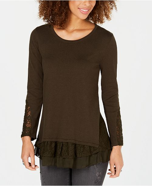 Style & Co Petite Lace Hem Tunic Sweater, Created for Macy's