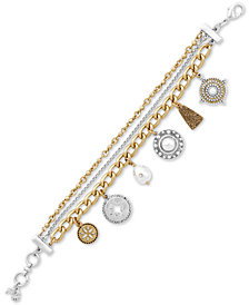 Lucky Brand Two-Tone Bead, Crystal & Imitation Pearl Multi-Charm Flex Bracelet, Created for Macy's