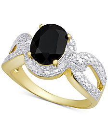 Sapphire (2-1/10 ct. t.w.) & Diamond Accent Statement Ring in 18k Gold-Plated Sterling Silver