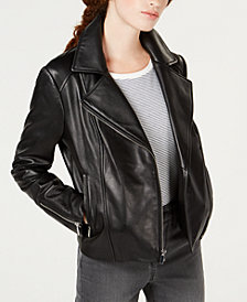 Maison Jules Leather Moto Jacket, Created for Macy's