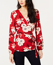 I.N.C. Petite Floral-Print Wrap Top, Created for Macy's