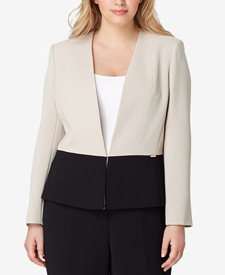 Tahari Asl Plus Size Colorblocked Pantsuit Wear To Work Women