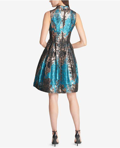 Vince Camuto Metallic Jacquard Fit Amp Flare Dress Dresses