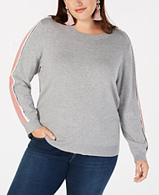 525 America Plus Size Scallop Stripe Sweater