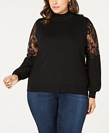 Plus Size Lace-Sleeve Mock-Neck Sweater