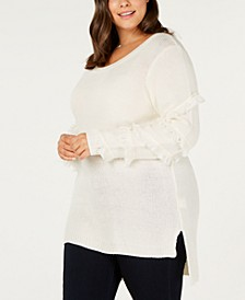 Plus Size Fringed-Sleeve Tunic Sweater
