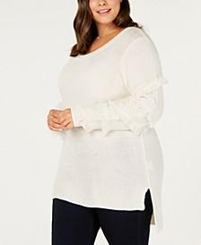 Plus Size Fringed-Sleeve Tunic Sweater