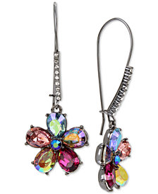 Betsey Johnson Hematite-Tone Crystal Flower Drop Earrings