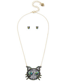 "Betsey Johnson Two-Tone Crystal Cat Pendant Necklace & Stud Earrings Set, 16"" + 3"" extender"