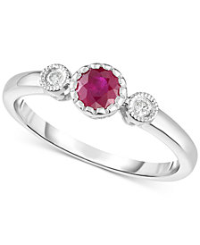 Ruby (3/8 ct. t.w.) & Diamond Accent Ring in 14k White Gold