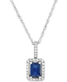 "Sapphire (3/4 ct. t.w.) & Diamond (1/10 ct. t.w.) 18"" Pendant Necklace in 14k White Gold"