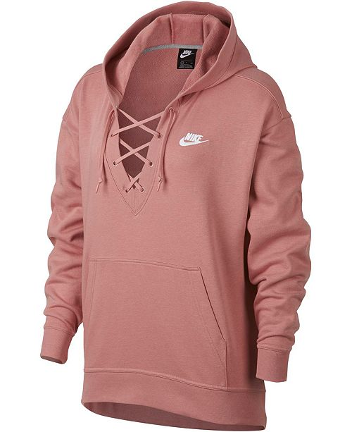 Nike Sportswear French Terry Lace Up Hoodie & Reviews Tops