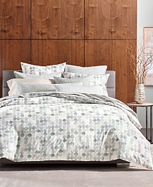 Hotel Collection Seaglass Cotton 340-Thread Count Green Full/Queen Duvet Cover, Created for Macy's