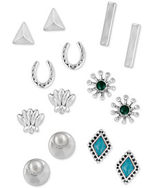 Lucky Brand Silver-Tone 7-Pc. Set Crystal, Stone & Imitation Pearl Stud Earrings, Created for Macy's