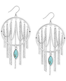 Lucky Brand Silver-Tone Stone Circle & Looped Chain Drop Earrings, Created for Macy's