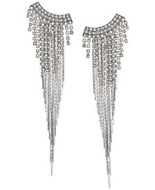 Jewel Badgley Mischka Silver-Tone Crystal & Chain Fringe Chandelier Earrings