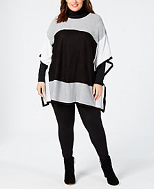 Calvin Klein Plus Size Colorblocked Poncho