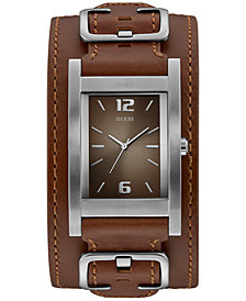 GUESS Men's Brown Leather Cuff Strap Watch 31x39mm