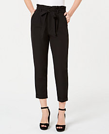 Almost Famous Juniors' Paperbag-Waist Pants