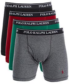 Polo Ralph Lauren Men's Classic-Fit Knit Cotton Boxer Briefs, 4-Pk.