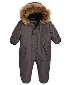 S. Rothschild Baby Boys or Girls Hooded Footed Pram With Faux-Fur Trim