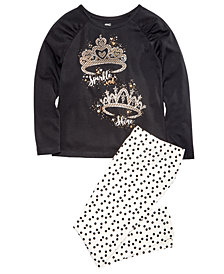 Epic Threads Little Girls Tiaras T-Shirt & Dot-Print Leggings, Created for Macy's