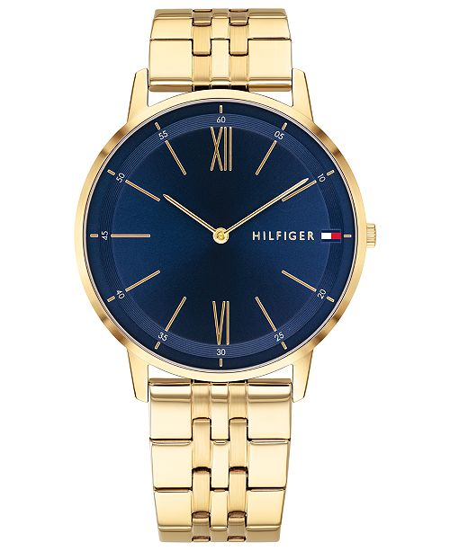 bfc03abc Tommy Hilfiger Men's Gold-Tone Bracelet Watch 40mm & Reviews ...