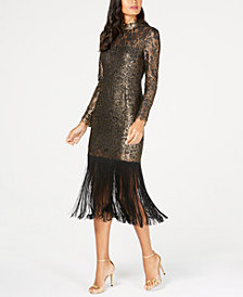 Rachel Zoe Hunter Fringe Metallic Dress