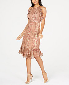 Rachel Zoe Silk Leopard-Print Ruffle-Trim Dress