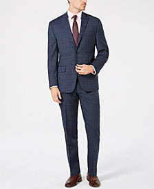 Michael Kors Men's Classic/Regular Fit Natural Stretch Blue/Red Plaid Wool Suit