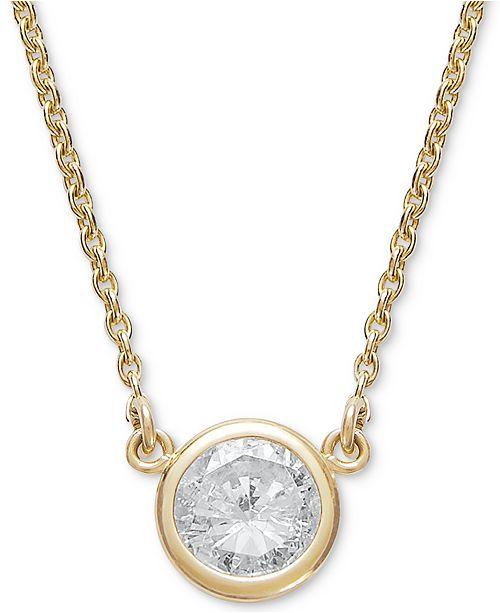 ee642ff6d2 Macy s Bezel-Set Diamond Pendant Necklace (1 5 ct. t.w.) in 14K Gold ...