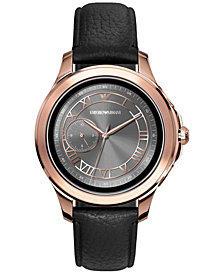 Emporio Armani Men's Black Leather Strap Touchscreen Smart Watch 46mm