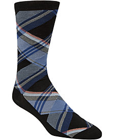 Cole Haan Men's Diagonal Plaid Crew Socks