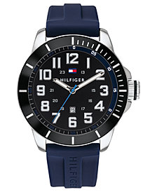 Tommy Hilfiger Men's Blue Silicone Strap Watch 46mm