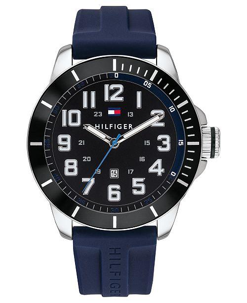 Tommy Hilfiger Men's Blue Silicone Strap Watch 46mm
