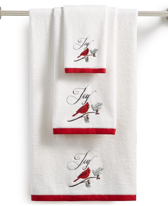 CLOSEOUT! Martha Stewart Collection Cardinal Embroidered Cotton Bath Towel, White, Size: BATH