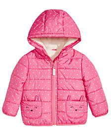 Carter's Baby Girls Dot-Printed Hooded Bubble Jacket